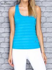 Niebieski damski top sportowy w paseczki