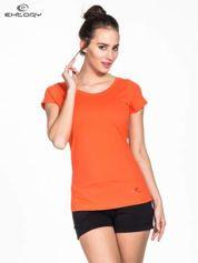 Pomarańczowy damski t-shirt sportowy basic PLUS SIZE