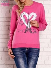 Różowa bluza z motywem paryskim