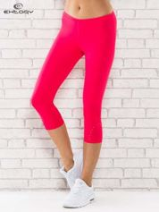 Różowe legginsy sportowe termalne z dżetami na nogawkach
