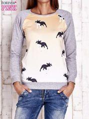 Szara bluza z nadrukiem buldożków