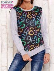 Szara bluza z nadrukiem cyfr