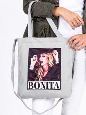 Szara torba ekologiczna z naszywką kobiety BONITA
