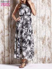Szara wzorzysta sukienka maxi z dżetami