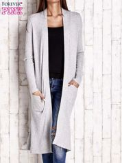 Szary długi prążkowany sweter