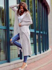 Szary długi sweter wzór melanżowy