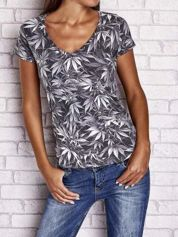 Szary t-shirt z motywem liści ganja weed