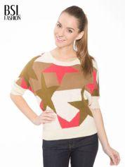 Wielokolorowy sweter z nadrukiem gwiazd