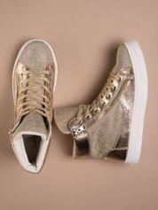 Złote płaskie sneakersy damskie z kryształkami