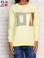 Żółta bluza z napisem YES NOW