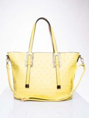 Żółta torba z klamrami i odpinanym paskiem