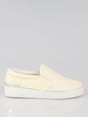 Żółte buty sliponki glitter