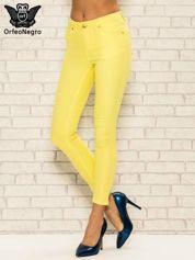 Żółte spodnie rurki skinny z kieszeniami