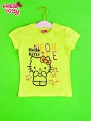 Żółty t-shirt dla dziewczynki HELLO KITTY z gwiadkami