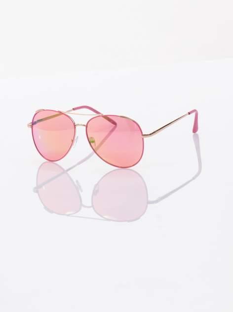 AVIATOR różowe okulary przeciwsłoneczne pilotki