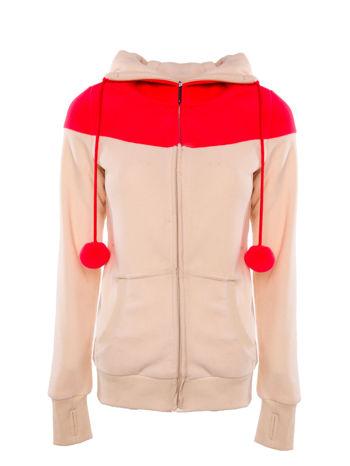Beżowa bluza polarowa z kapturem z uszkami
