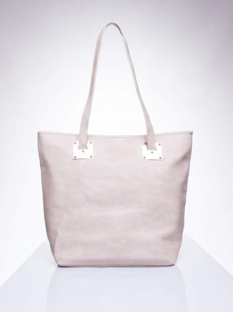 Beżowa prosta torba shopper bag ze złotymi okuciami