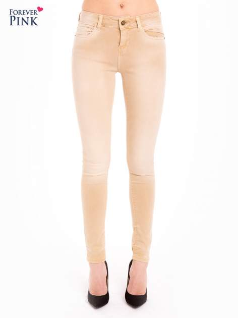 Beżowe spodnie jeansowe super skinny