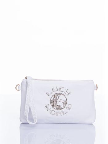 Biała kopertówka z dżetami napis LUCY WORLD