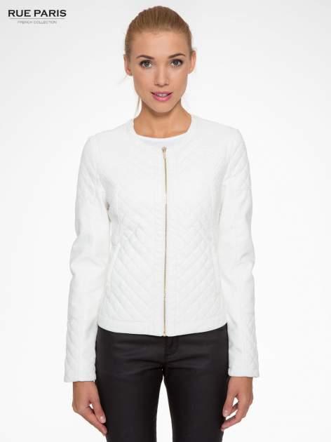 Biała pikowana kurtka ze skóry