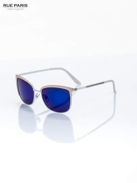 Biało-złote KLASYCZNE damskie okulary przeciwsłoneczne lustrzanki