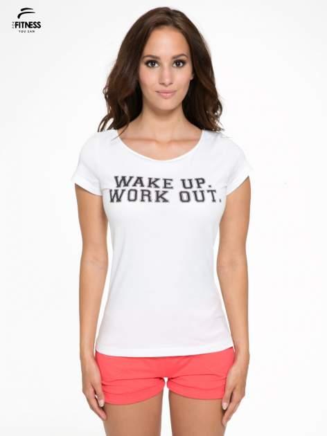 Biały bawełniany t-shirt z nadrukiem tekstowym WAKE UP WORK OUT