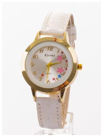 Biały delikatny damski zegarek z motywem kwiatowym na tarczy