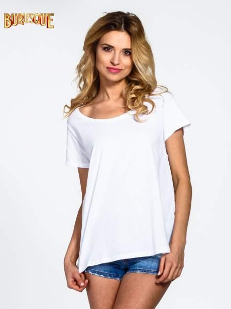 Biały gładki t-shirt z okrągłym dekoltem