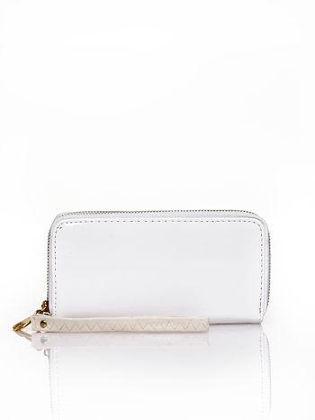 Biały lakierowany portfel z uchwytem na rękę