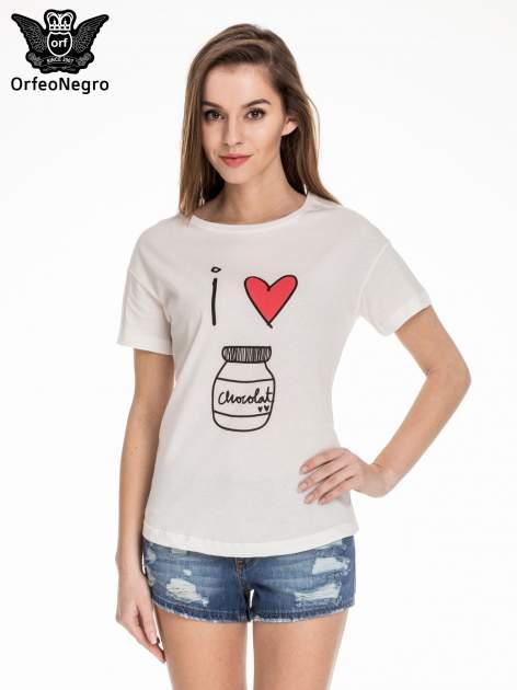 Biały t-shirt z nadrukiem I LOVE CHOCOLAT
