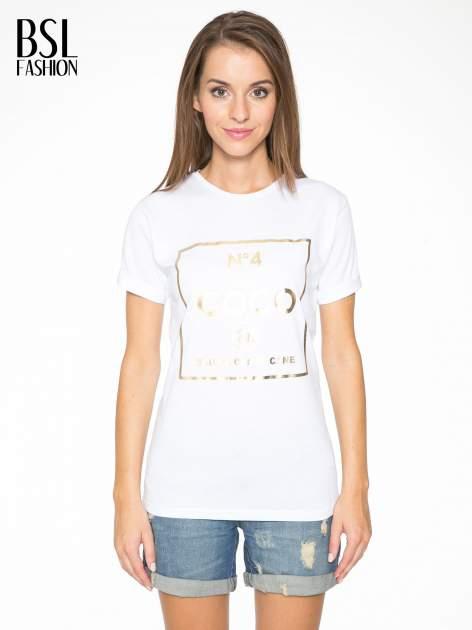 Biały t-shirt ze złotym nadrukiem NO. 4 COCO