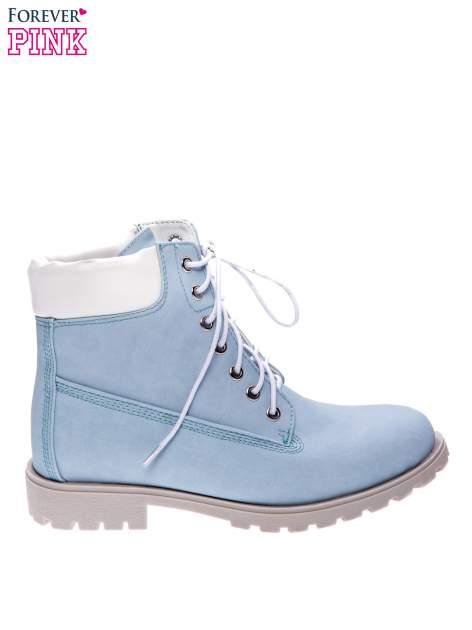Błękitne buty trekkingowe damskie typu trapery
