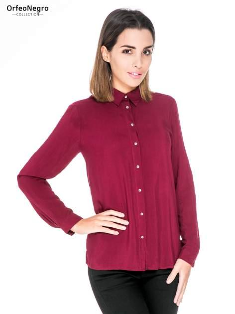 Bordowa koszula damska z zamkiem z tyłu