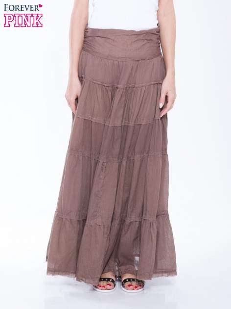 Brązowa długa spódnica maxi w stylu boho