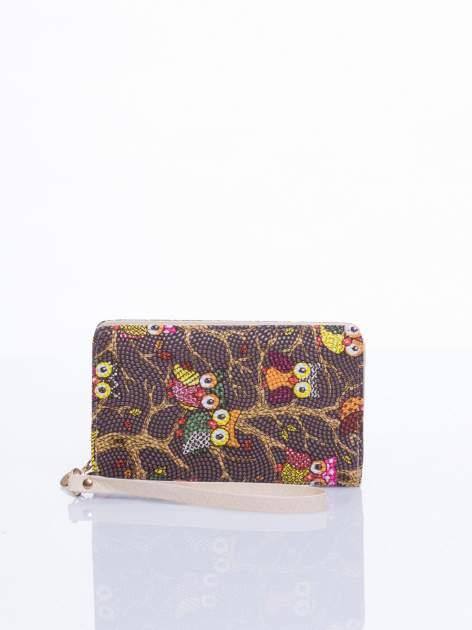 Brązowy mini portfel w sówki