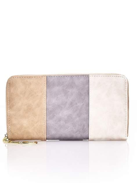 Brązowy trójkolorowy portfel z uchwytem
