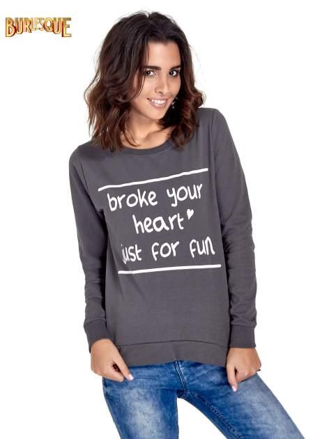 Ciemnoszara bluza z napisem BROKE YOUR HEART JUST FOR FUN