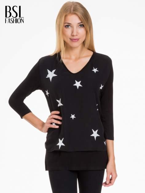 Czarna bluzka z nadrukiem białych gwiazdek