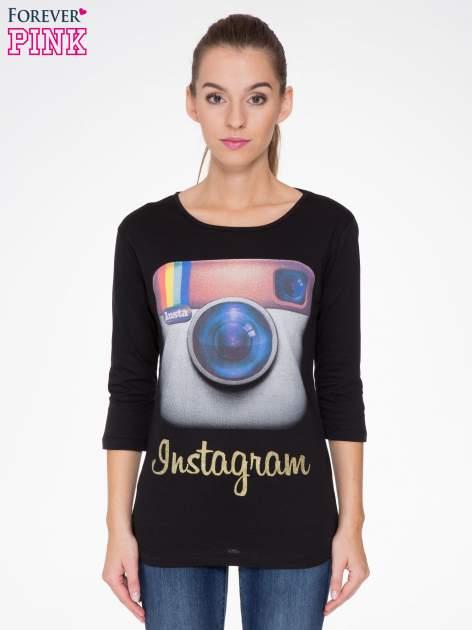Czarna bluzka z nadrukiem loga Instagrama