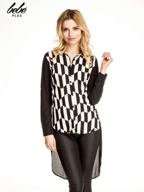 Czarna koszula w geometryczne wzory z dłuższym tyłem