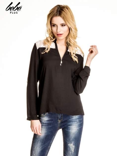 Czarna koszula z koronką i suwakiem
