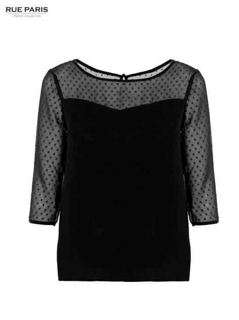 Czarna koszula z przezroczystym materiałem w groszki