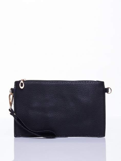 Czarna prosta przewieszana torebka z uchwytem