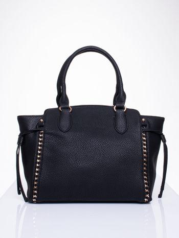 Czarna torba shopper bag ze złotymi wstawkami