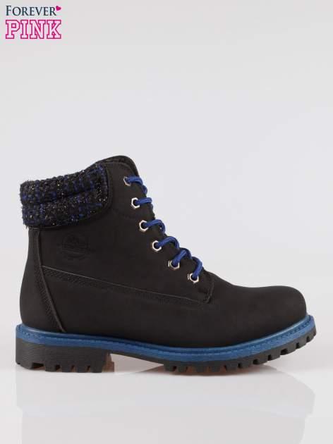 Czarne buty trekkingowe traperki z ozdobnym kołnierzem