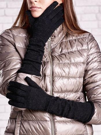 Czarne długie rękawiczki ze srebrną nicią