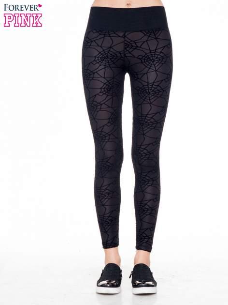 Czarne legginsy z wysokim pasem z nadrukiem pajęczej sieci