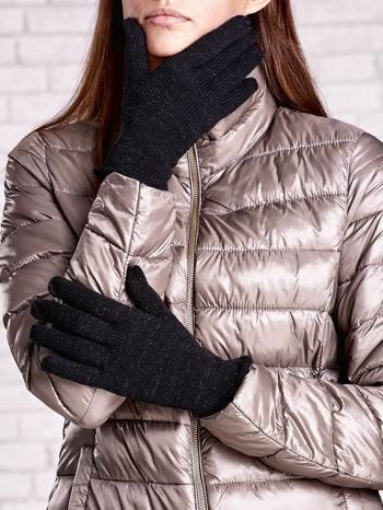 Czarne rękawiczki ze srebrną nicią z wywijanym mankietem