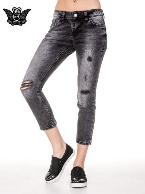 Czarne rozjaśniane spodnie jeansowe 7/8 z rozdarciami