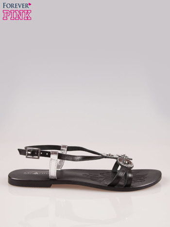 Czarne skórzane sandały ze srebrnymi kwiatami